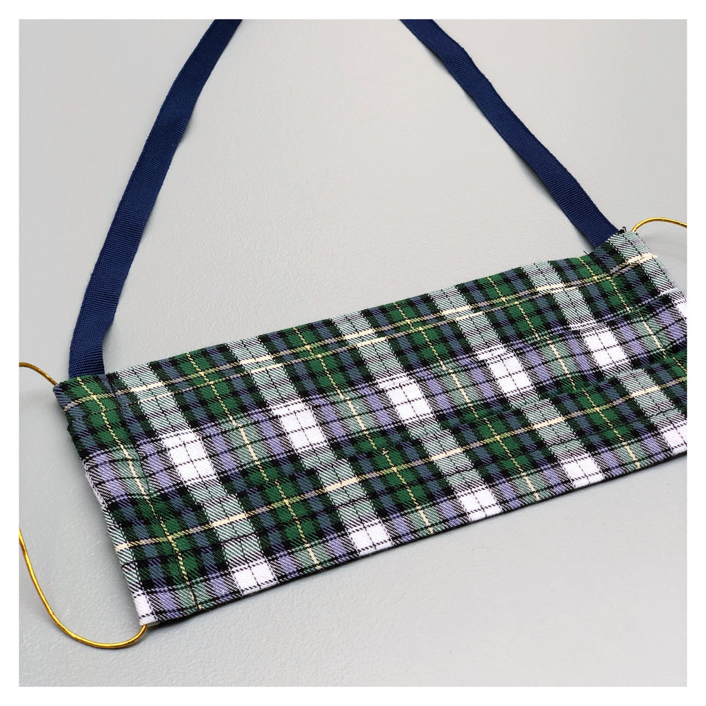 PLAID FACE MASK WITH BLUE NECK CORD CHOICE (M)