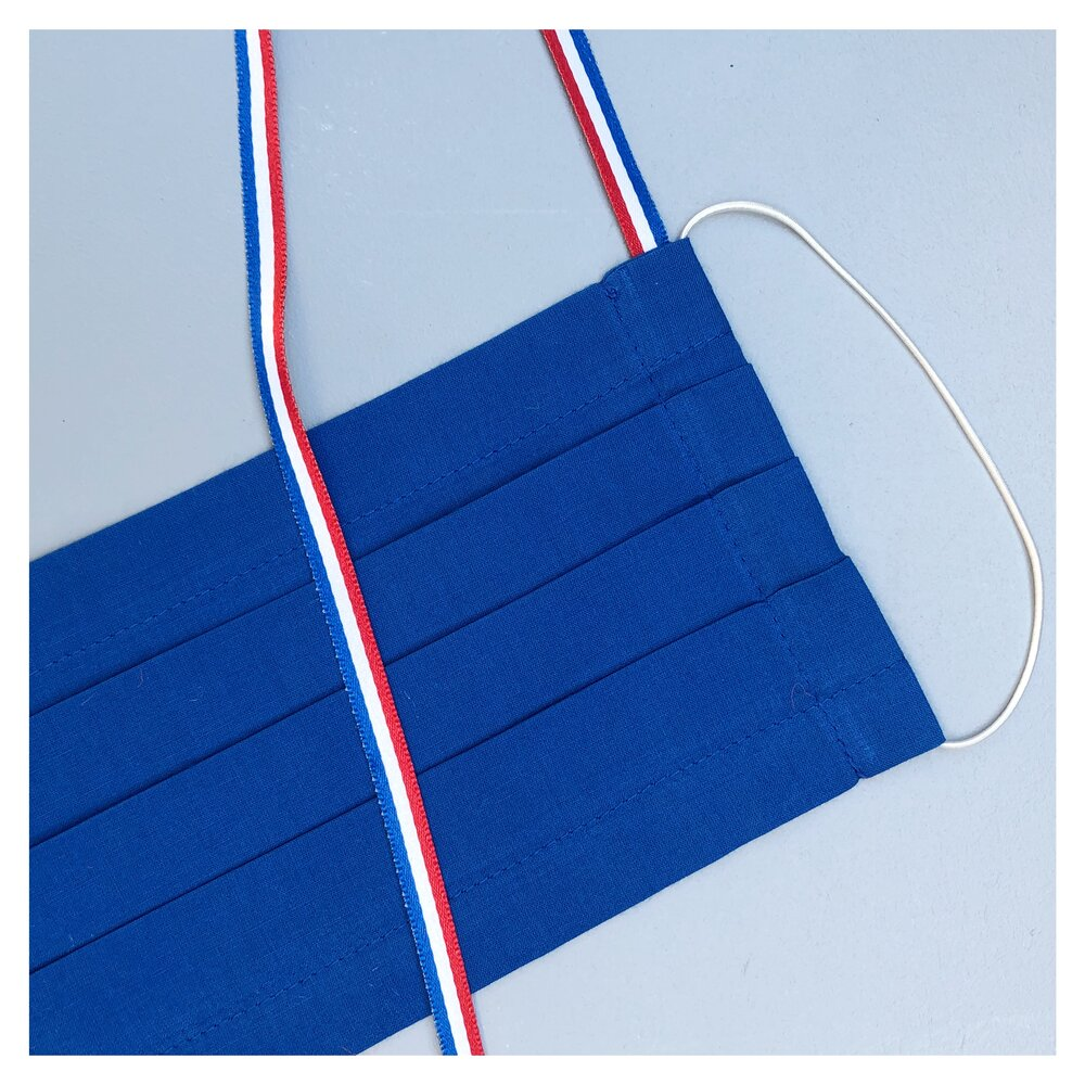 "BLUE FACE MASK WITH NECK CORD ""FRANCE"" FOR MEN"