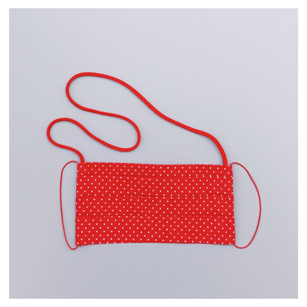 KIDS* RED POLKA DOTS COTTON FACE MASK WITH NECK CORD (S)