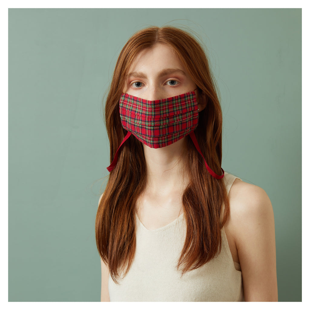 RED PLAID WINTER FACE MASK WITH NECK CORD (M)