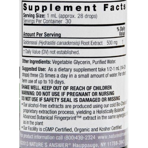 Nature's Answer - Goldenseal Root Alcohol Free - 1 fl oz