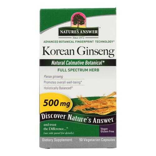 Nature's Answer - Korean Ginseng Root - 50 Vegetarian Capsules
