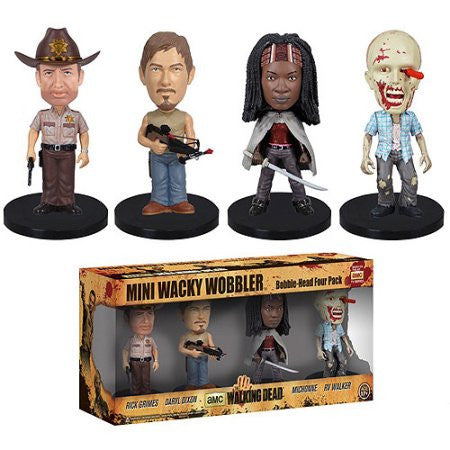 AMC's THE WALKING DEAD Funko! Mini Wacky Wobbler Bobblehead - Four Pack