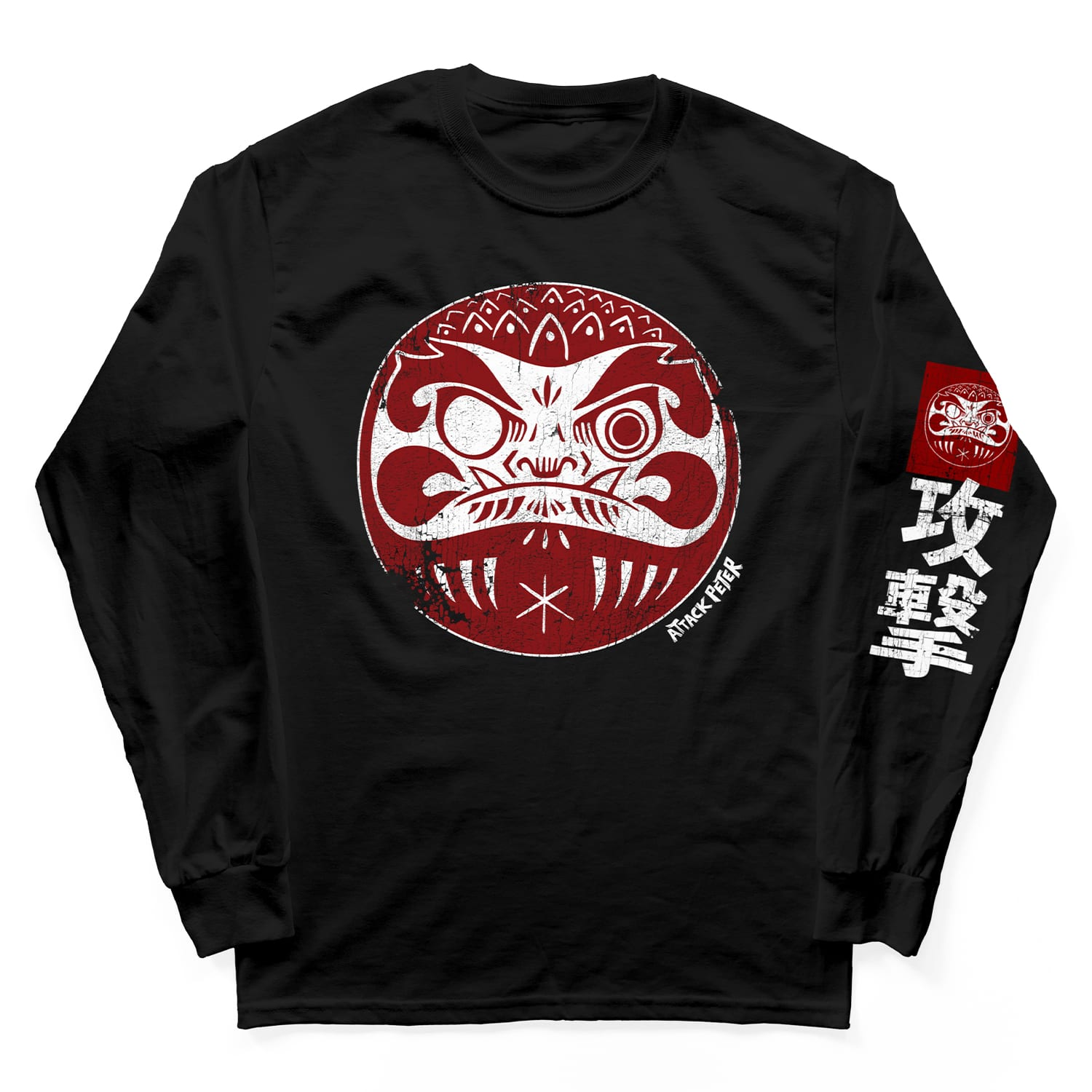 "Attack Peter ""Daruma"" Long Sleeve Shirt in Black"