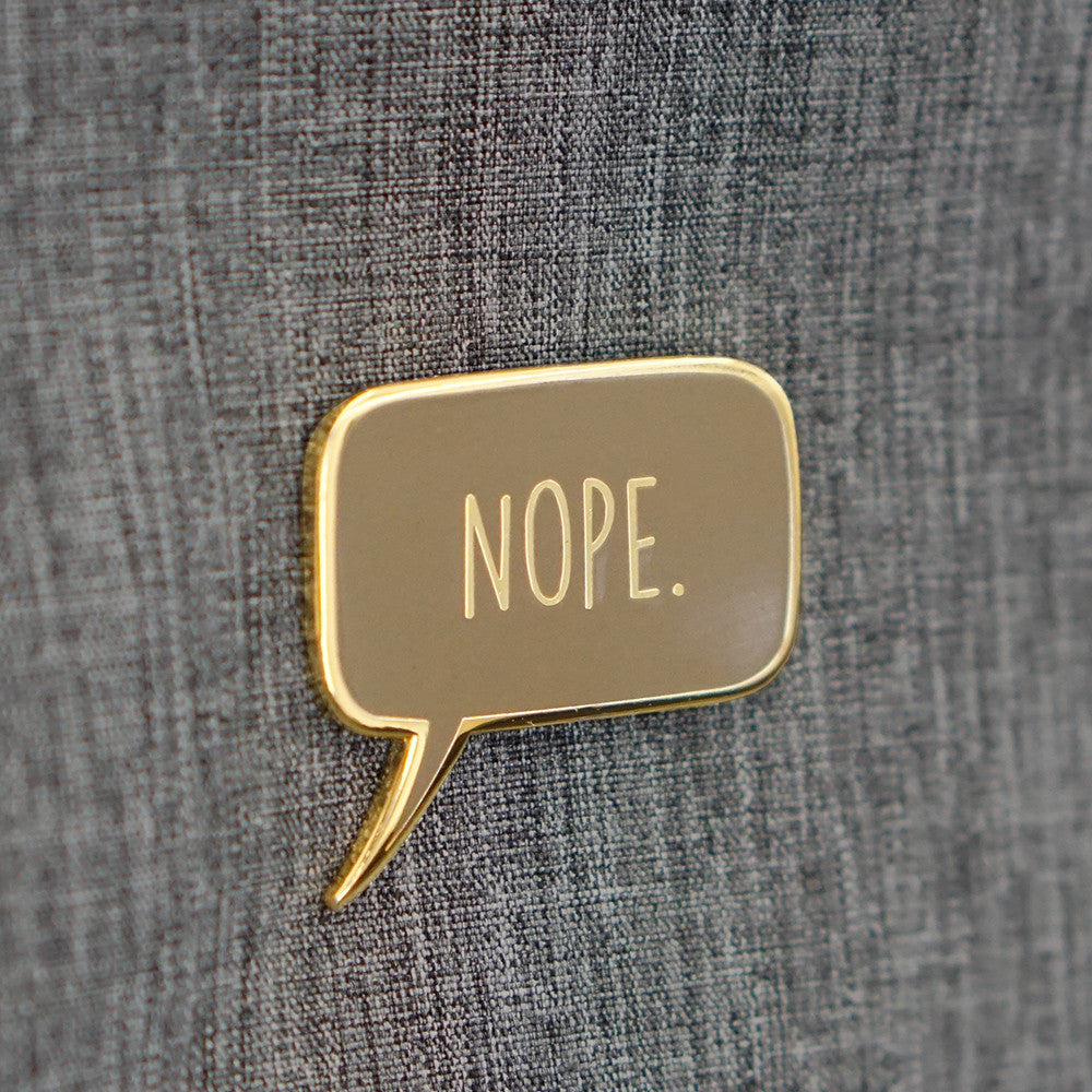 """Nope"" Pin — Brown"