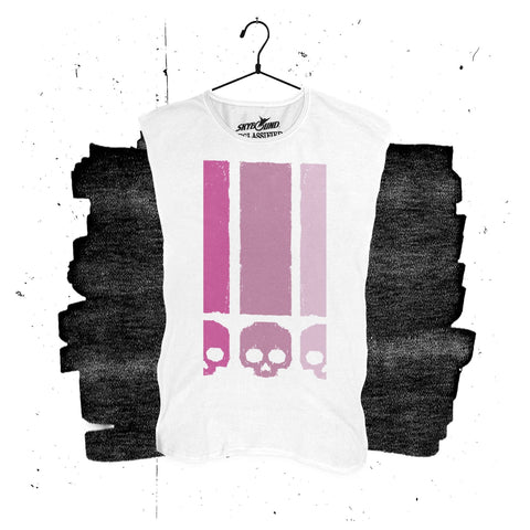 "<strong>DECLASSIFIED:</strong> Die!Die!Die! <br>""Exclamation"" Womens Sleeveless Crew Tee – WHITE"