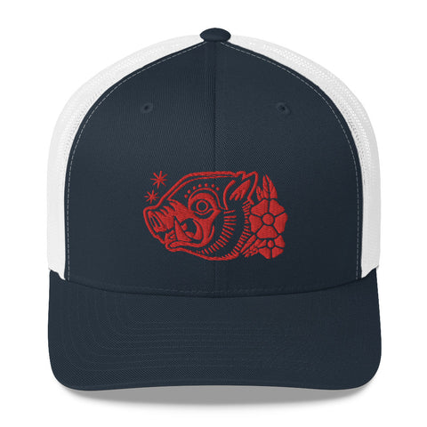 Attack Peter - War Hog Trucker Cap in Blue/Red