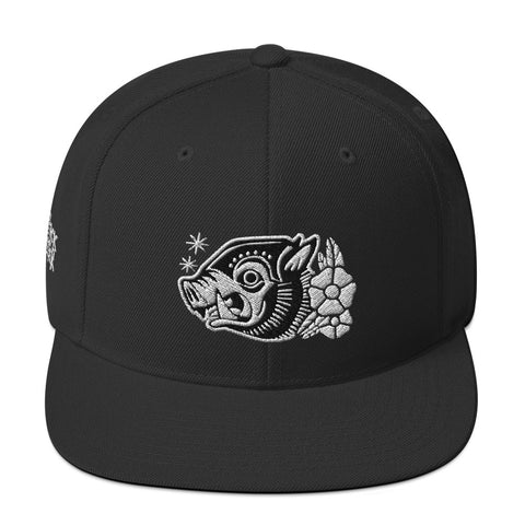 "Attack Peter ""War Hog"" Snapback Hat in Black/White"
