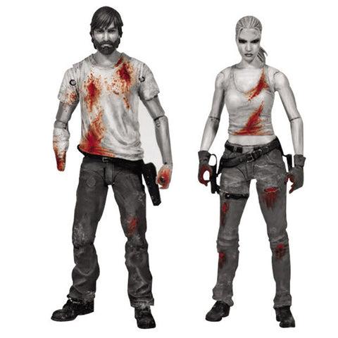 THE WALKING DEAD Comic Series 3 Rick & Andrea Bloody B&W 2-Pack Action Figures