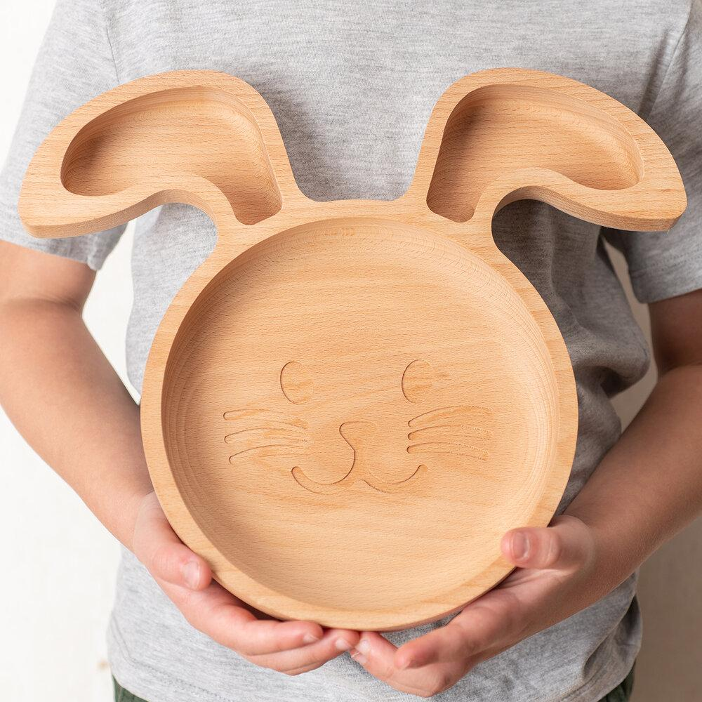Load image into Gallery viewer, The Wooden Rabbit Plate For Children