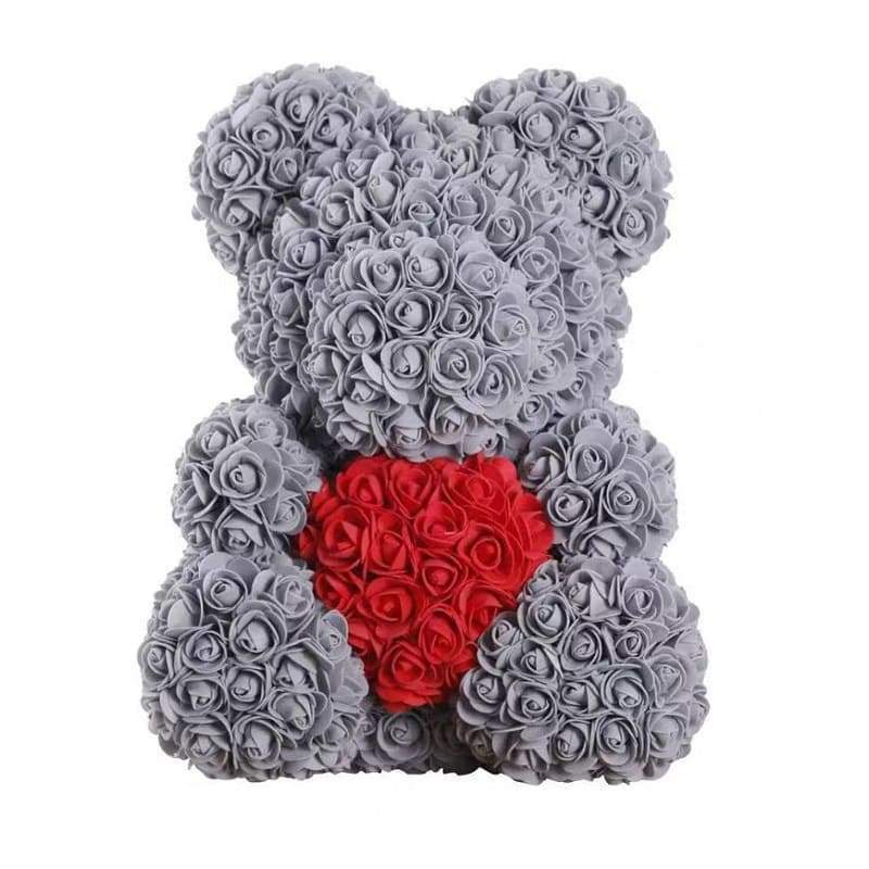 "Rose Bear 16"" <br/> Gray and Red"