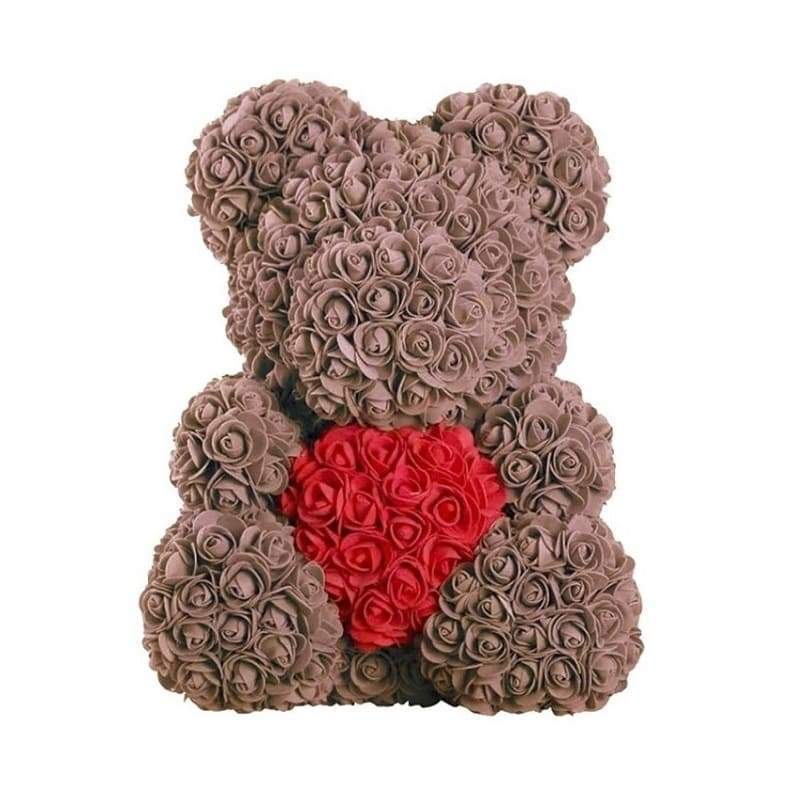 "Rose Bear 16"" <br/> Brown and Red"