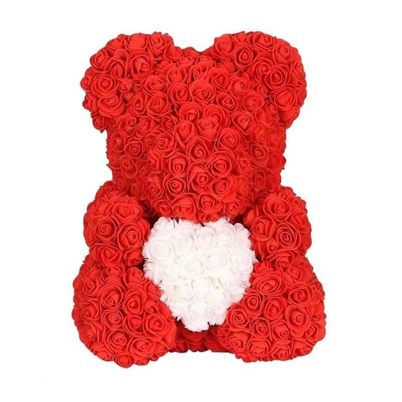 "Rose Bear 16"" <br/> Red and White"