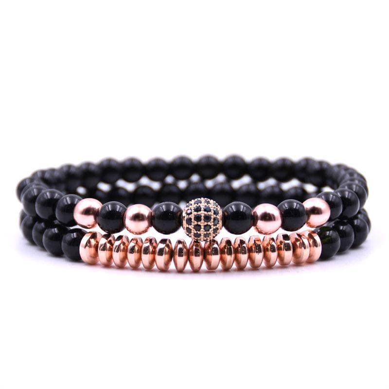 Rose Gold Pearls Couple Bracelets