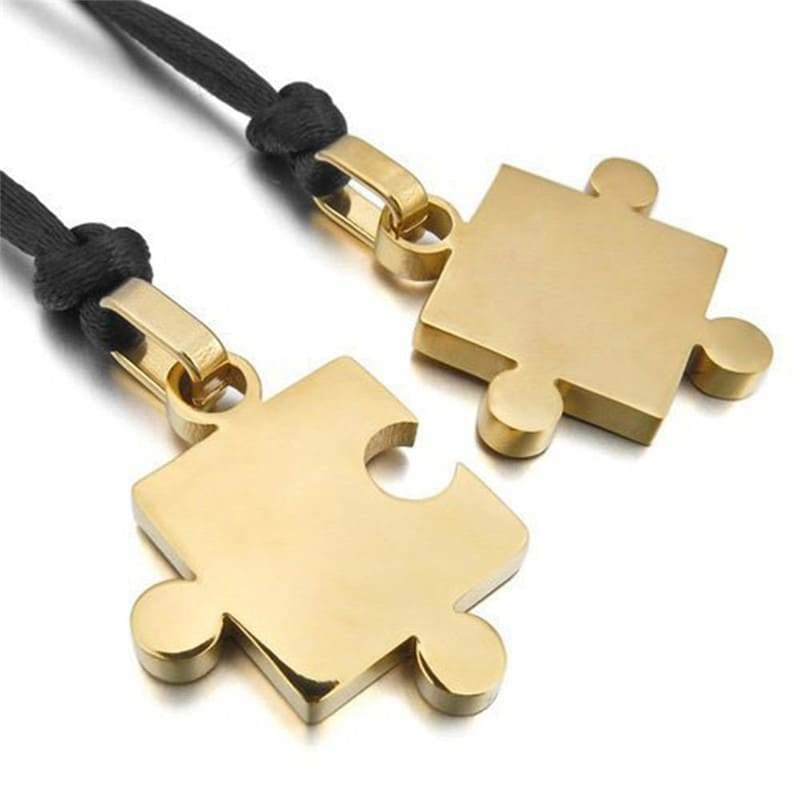 Couple Necklaces <br/> Gold Puzzle