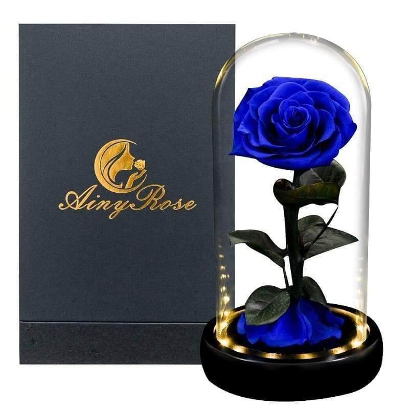 Blue Led XL Eternal Rose Under Glass Bell - Couple-Gift-Store