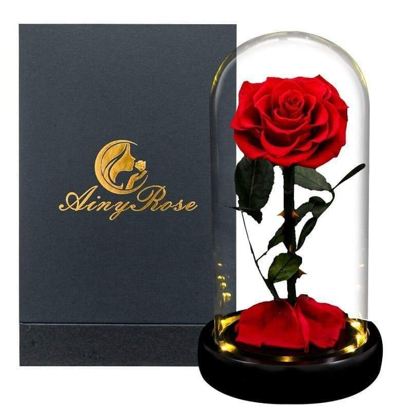 Red Led XL Eternal Rose UnderGlass Bell