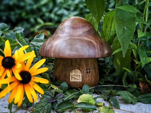 Gnome home made from black walnut