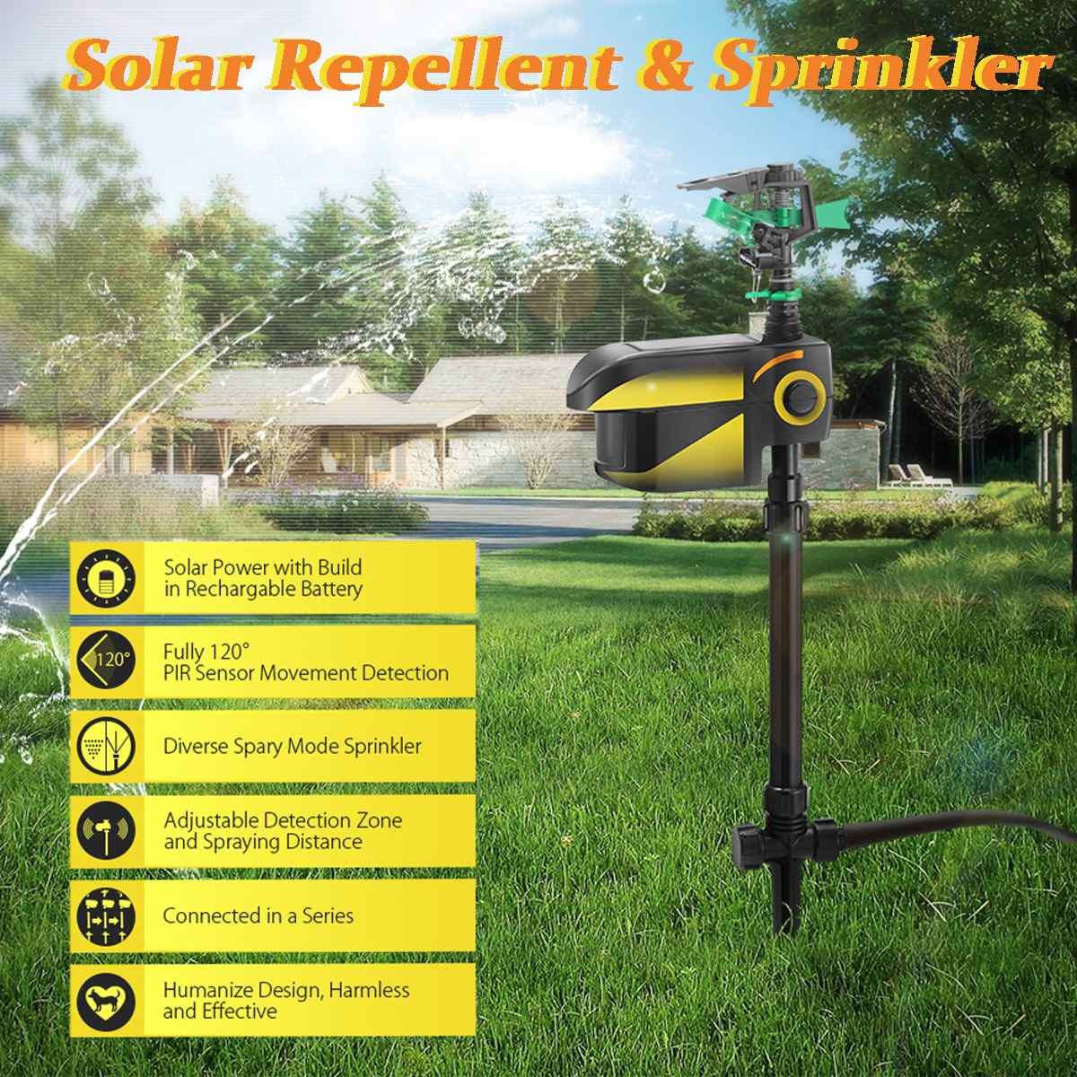 Spraycrow Solar Powered Motion Activated Animal Repellent Garden Sprinkler