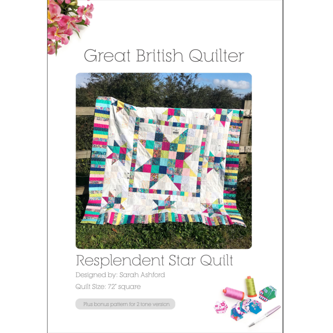 This is a simple medallion quilt with a giant star in the centre, 8 stars in the middle border and a piano key boarder around the edge.  The stars are a patchwork of scrappy fabric, and the background is a patchwork of low volume fabric.  This quilt is draped over a fence.