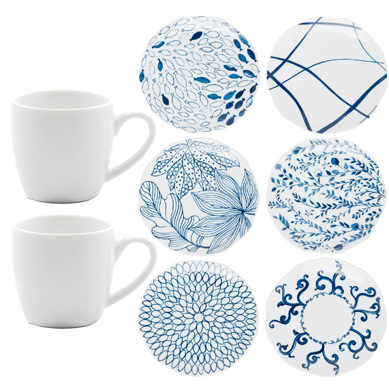 SET 6 TAZZE CAFFE' CON PIATTO BLUE ROSE E TULIPANI