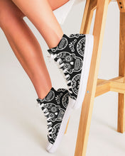 Load image into Gallery viewer, Black & White Calavera Women's High Top Canvas Shoe