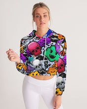 Load image into Gallery viewer, Spooky Graffiti Women's Cropped Hoodie