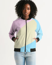 Load image into Gallery viewer, Pink, Blue, & Cream Color Block Women's Bomber Jacket