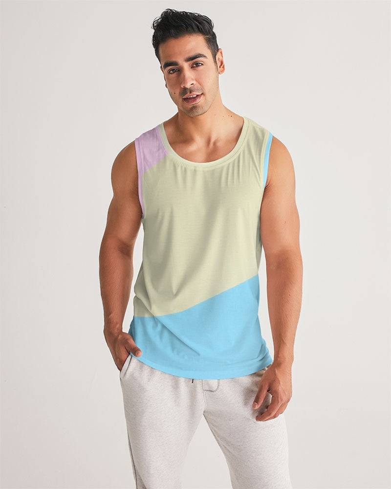 Pink, Blue, & Cream Color Block Men's Sports Tank