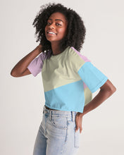 Load image into Gallery viewer, Pink, Blue, & Cream Color Block Women's Lounge Cropped Tee