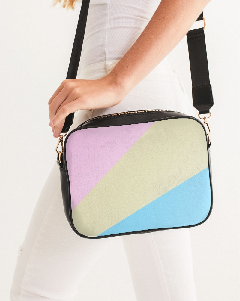 Pink, Blue, & Cream Color block Crossbody Bag