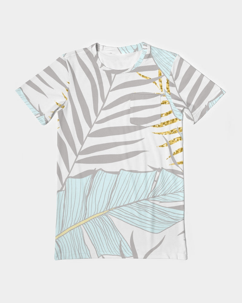 Banana And Golden Palm Leaves Men's Everyday Pocket Tee