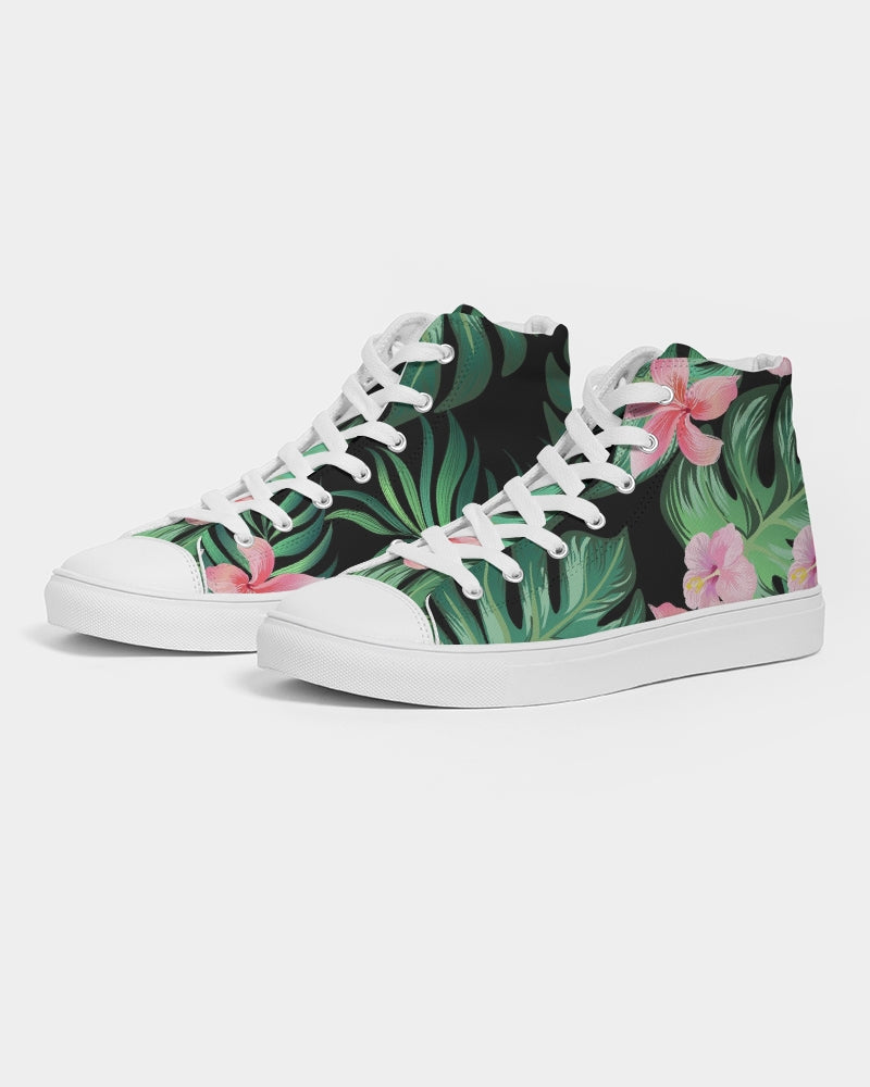 Summer Palm Leaves And Flowers Women's High Top Canvas Shoe