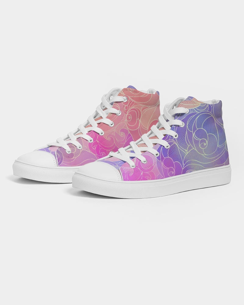 Pastel Clouds Women's High Top Canvas Shoe
