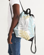Load image into Gallery viewer, Banana And Golden Palm Leaves Canvas Drawstring Bag