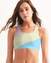 Load image into Gallery viewer, Pink, Blue, & Cream Color Block Women's Seamless Sports Bra