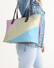 Load image into Gallery viewer, Pink, Blue, & Cream Color Block Stylish Tote