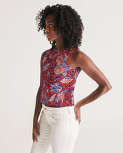 Load image into Gallery viewer, Red Watercolor Paisley Women's Cropped Tank