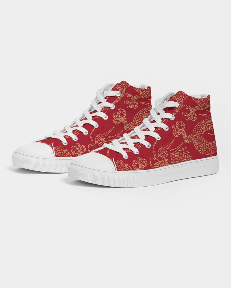 Gold & Red Dragon Men's High Top Canvas Shoe