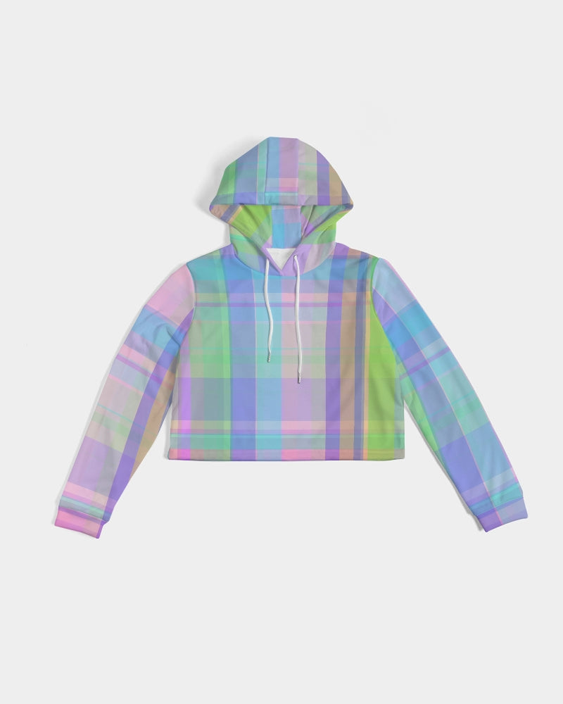 Pastel Plaid Women's Cropped Hoodie