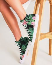 Load image into Gallery viewer, Summer Palm Leaves And Flowers Women's High Top Canvas Shoe