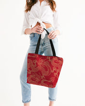 Load image into Gallery viewer, Gold & Red Dragon Canvas Zip Tote