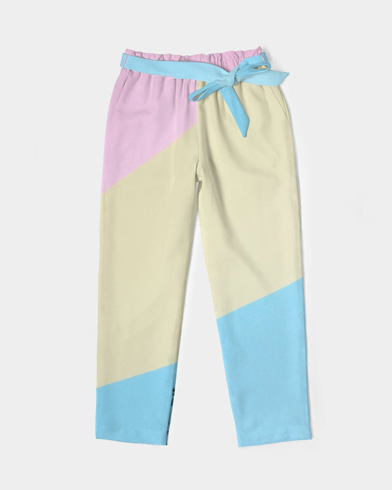 Pink, Blue, & Cream Color Block Women's Belted Tapered Pants
