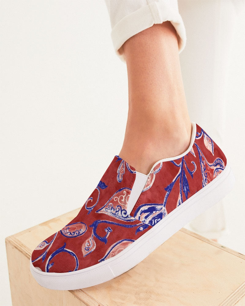 Red Watercolor Paisley Women's Slip-On Canvas Shoe