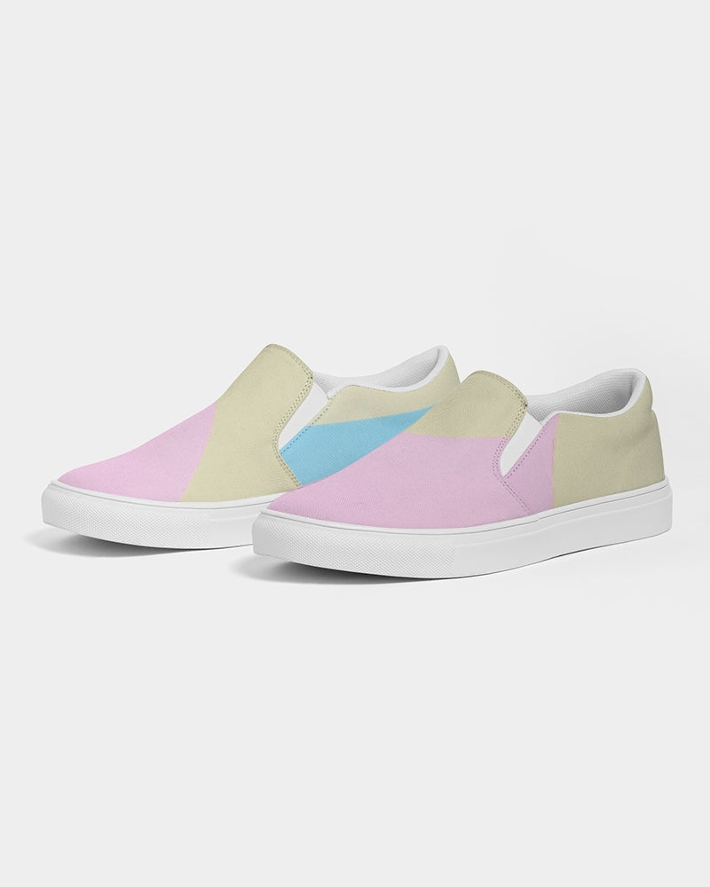 Pink, Blue, & Cream Color Block Women's Slip-On Canvas Shoe