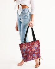 Load image into Gallery viewer, Red Watercolor Paisley Canvas Zip Tote