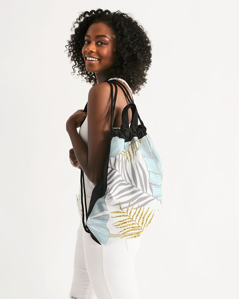 Banana And Golden Palm Leaves Canvas Drawstring Bag