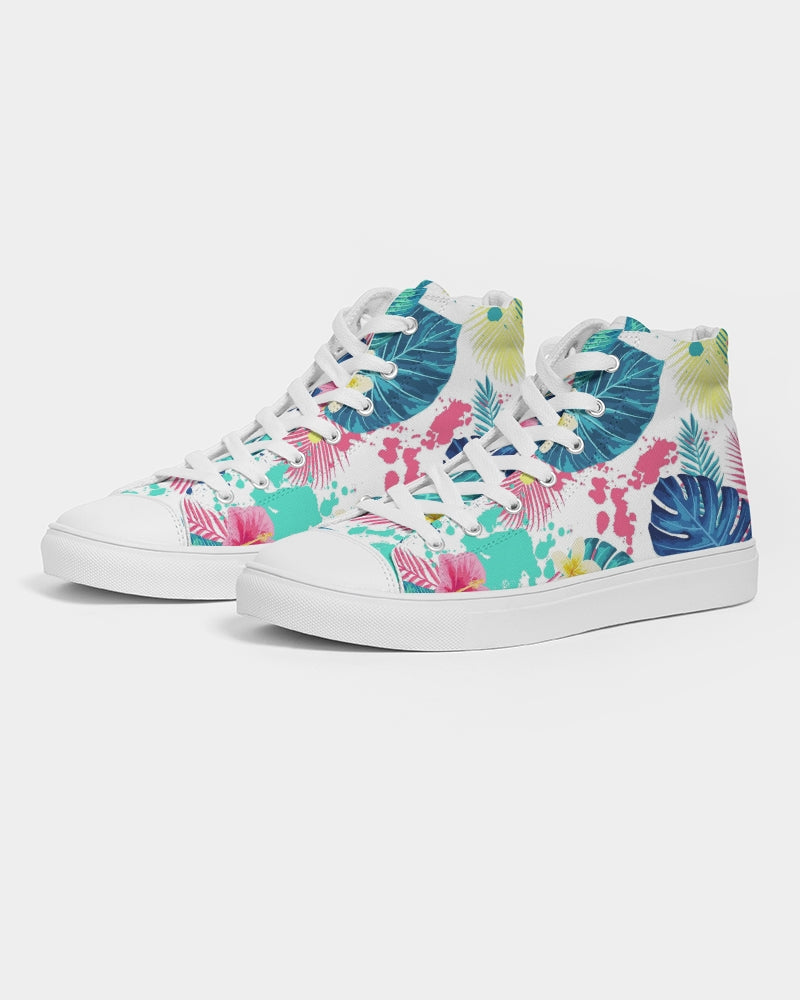 Abstract Palm Leaves Women's High Top Canvas Shoe