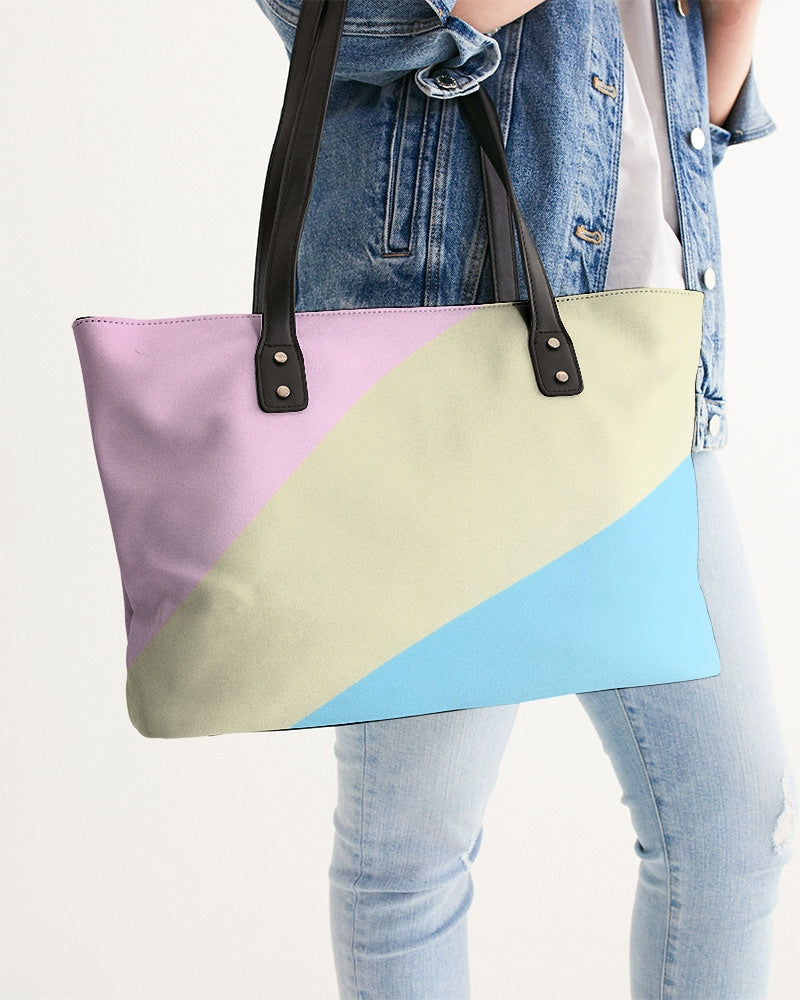 Pink, Blue, & Cream Color Block Stylish Tote