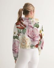 Load image into Gallery viewer, Red White & Pink Roses Women's Cropped Hoodie